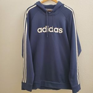 NWT Adidas Blue Spellout Hoodie with Pockets M25